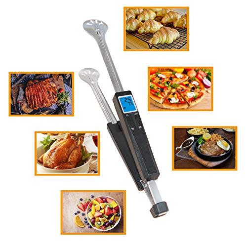 Grillzange mit digitalem Thermometer, Küchenzange aus Edelstahl und Silikon, antihaftbeschichteter und hitzebeständiger Griff, mit LCD-Display zum sofortigen Ablesen, Zeit
