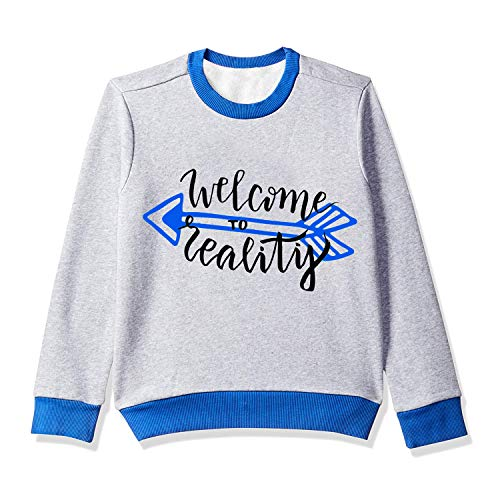 KIDDY STAR Boys Cotton Full Sleeve Rib Neck Sweater/Sweatshirt for Winter, Grey and Blue, Pack of 1 (Size 5 to 6 Years)