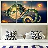 Tríptico Cuadros de Lienzo Decorativos para el hogar 3 Piezas Pinturas de Dragon Ball Arte de Pared Impresiones de Anime póster Hotel Marco Modular para habitación de niños