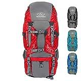 HIGHLANDER Zaino Discovery 85L - Zaino Leggero da Trekking con Coperchio Impermeabile - Ideale per Camminare, Viaggiare, Fare Trekking, campeggiare e spedizioni DofE - Color Nero (Rosso)