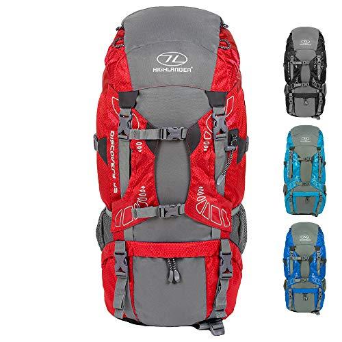 HIGHLANDER Sacs à Dos Discovery 45L Sac à Dos léger de randonnée avec Couverture imperméable - Idéal pour Marcher, Faire des treks, du Camping et pour Votre Stage Duc d'Édimbourg - Rouge