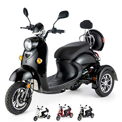 VELECO Scooter elettrico 3 ruote Disabili Anziani 25km/h 650W Retro ZT63 (Nero)