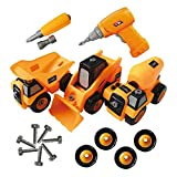 ToyVelt Construction Take Apart Trucks STEM Learning Toys, W Toy Drill - Dump Truck, Cement Truck &...