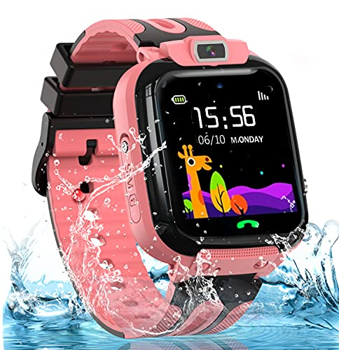 Kids Smart Watches for Girls Boys, IP67 Waterproof Smart Watch for Kids w GPS Tracker, HD Touch Screen Call Voice Chat Camera Cell Phone Watches for Children 3-14 Ages(Pink)