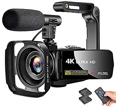 "4K Camcorder Video Camera Vlogging Camera Recorder with Microphone 30MP 3"" LCD Touch Screen 18X Digital Zoom YouTube Camera with Remote Control by LINNSE"