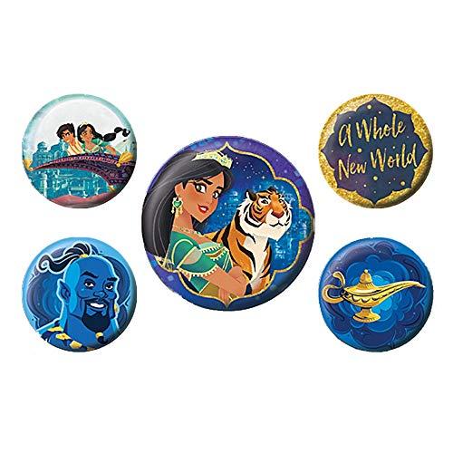 Echte Disney Aladdin Film A Whole New World 5 Stück Button Badge Set