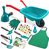 Qtioucp 16Pcs Kids Gardening Tools Outdoor Toys Set Backyard Play with Wheelbarrow, Apron, Watering Can and More Educational STEM Learning Pretend Toys Outdoor Indoor for Toddlers Kids Boys Girls