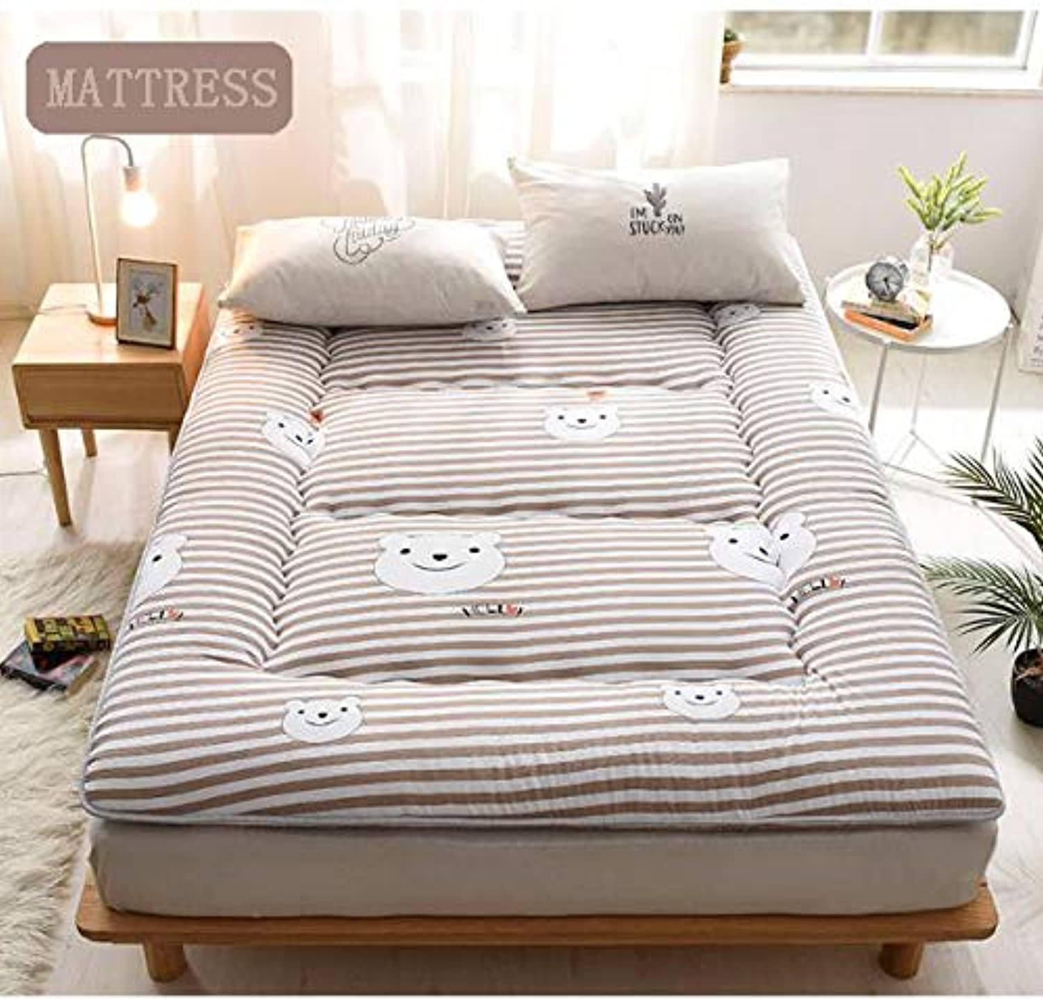 Thick Mattress Topper, Polyester Tatami Floor mat Sleeping, Quilted Fitted Premium Mattress pad-Hypoallergenic -Stripe 100x200cm(39x79inch)