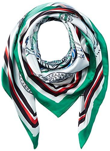 Tommy Hilfiger Damen Print Scarf Satin-Schal mit Florida-Aufdruck, Grün mix, One size