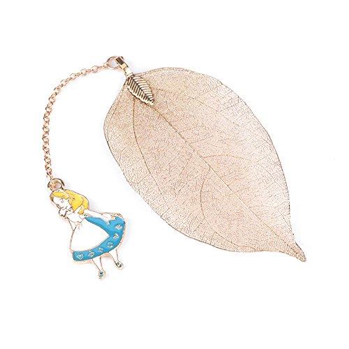 Segnalibro a foglia in metallo oro vintage 1pc con pendente Alice/Coniglio/Orologio per la lettura di libri. Regali perfetti(Alice)