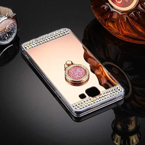 YANTAIAN For Samsung Galaxy A5 (2016) / A510 Diamante Incrustaciones de galvanoplastia Cubierta Protectora con Soporte de Anillo Oculto (Color : Rose Gold)