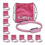 Bluefinity Pilates Ring mit Übungen, Doppelgriff, gepolstert, Widerstandsring Yoga, Fiberglas, Fitness Ring Ø 37cm, pink