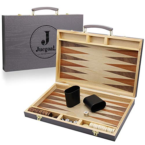 "Juegoal 15"" Wooden Backgammon Board Game Set for Kids Adults"