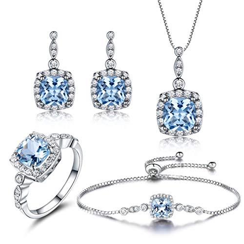 XIRENZHANG Juego de joyas de plata de ley 925 con topacio azul cielo, collar, pendientes y anillo. Juego de 4 piezas Sky Blue-6#