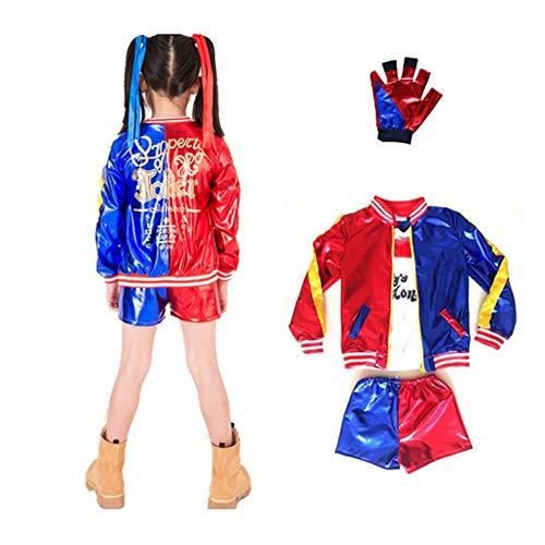 Disfraz Combinación 3pcs Suicide Squad Harley Quinn Niña Cosplay Costume con Guantes (M 120)