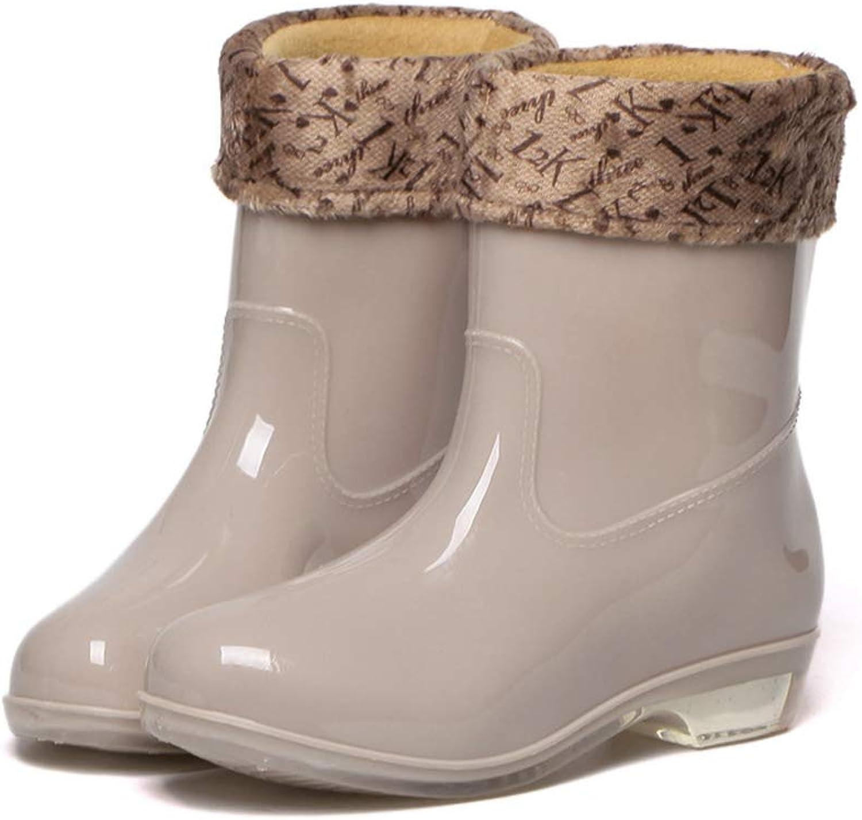York Zhu Women Rain Boots,Slip-on High Top Plush Warm Winrt Snow Boots