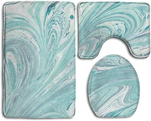 N/A 3-delige Memory Foam Badtapijtenset - Extra zacht badtapijt, Contour Mat, Dekseldeksel antislip-absorberend mintgroen marmer badmatten voor badkamer toiletdouche