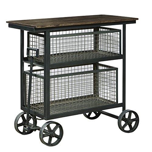 Pulaski Industrial Iron and Wood Wheeled Bar L x 15.5' D x 36' H Harold Accent Cart Sideboard 36' x 15.5' x 36'