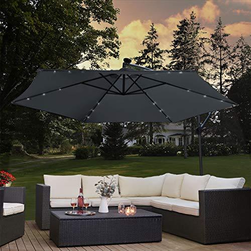 ArtLife Ampelschirm Brazil 300 cm LED-Beleuchtung Solar & Kurbel – UV-Schutz wasserabweisend knickbar – Sonnenschirm Marktschirm – grau
