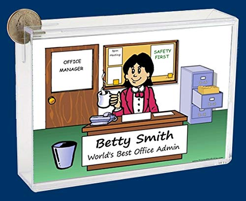 Personalized NTT Cartoon Caricature Bank: Clean Office – Female