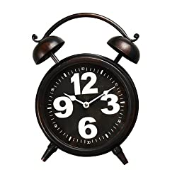 Adeco CK0041 Vintage-Inspired Retro Iron Alarm Style Wall Hanging or Table Clock, Oversize Numbers, Black