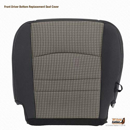 US Auto Nation Fits Dodge Ram Front Cloth Seat Replacement Covers Dark Gray V3 (Driver Bottom)