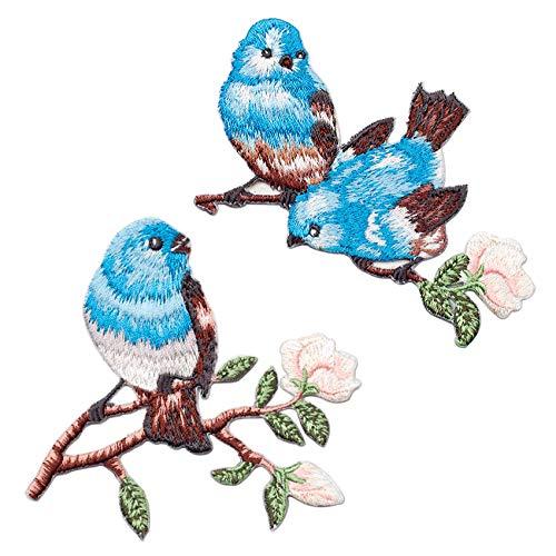 SuperiorParts Patches zum Aufbügeln Birdie 2 Stück Bestickte Patches Sticker Selbstklebend Gestickte Aufnäher Applikation für DIY Kleidung Jeans T-Shirt Jacken Rucksäcke (Kombination Vogel und Blume)