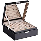 BEWISHOME Ring Organizer and Earring Box Holder - 11 Ring Slots, 25 Earring Compartments, Large Mirror, 2 Layers - Jewelry Box Tray Cufflinks Storage for Girls Women Men, Black Faux Leather SSH21B
