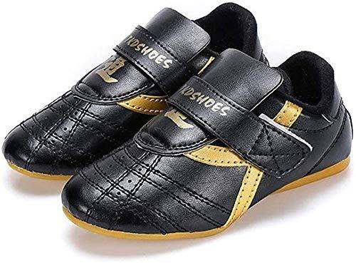 JINFAN Taekwondo Schuhe Martial Arts Trainer Schuhe Kinder Erwachsene Boxen Karate Schuhe Leder Klettverschluss für Männer Frauen,Black-27 EU