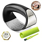 GuDoQi Garlic Press Rocker Stainless Steel Garlic Ginger Crusher Mincer with Garlic Peeler and Clean Brush Ergonomic Handle Labor Saving Easy To Use and Clean