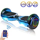 Hoverboard Self Balancing Scooter 6.5' Two-Wheel Self Balancing Hoverboard with Bluetooth Speaker and LED Lights Electric Scooter for Adult Kids Gift UL 2272 Certified Plating Dazzle Series - Blue
