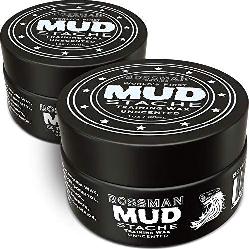 Bossman MUDstache Wax Unscented Mustache Wax - Mustach Grooming Care -...