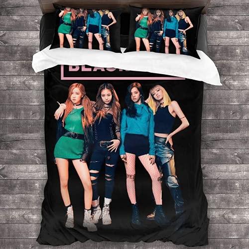 QWAS Juego de ropa de cama Blackpink JISOO, Jennie, Rosé, Lisa Juego de funda de edredón y 2 fundas de almohada, adecuado para todas las estaciones (JISOO2,220 x 240 cm + 80 x 80 cm x 2)