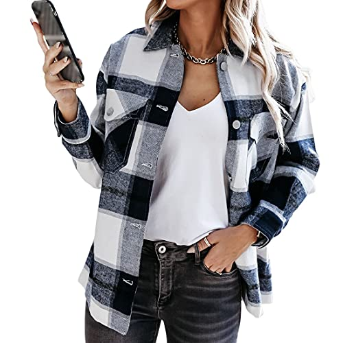 wenyujh Karierte Hemdjacke Damen Blusenshirt Freizeithemd Langarm Hemdbluse Boyfriend Outwear Coat Holzfällerjacke Freizeitjacke (Schwarz ,L)
