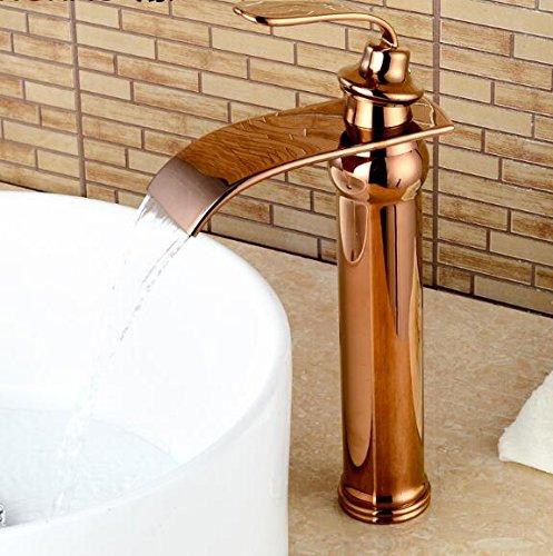 Retro Deluxe Fauceting Kostenloser Versand Luxus Waschtisch Armatur Kupfer Bad Wasserfall Wasserhahn warmes und kaltes Wasser vergoldet Gold/Nickel Wasserhahn Waschtisch Armatur Armaturen, Rose Gold