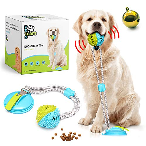 Pets Team Suction Cup Dog Toy –Dog Chew Toy – Tug Toys – Toys for Active Dogs and Aggressive Chewers – Puppy Puzzle Toy with FoodDispensing Ball – Great for Clean Teeth Improved Suction Design