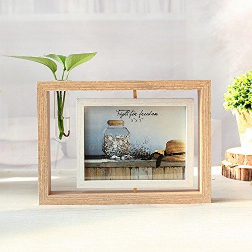 Cadre Photo Miroir Cadre Photo Double Usage Rotatif 6 Pouces 7 Pouces Cadre Photo Swing Table Décoration Décoration De Bureau Couleur bois 7 pouces