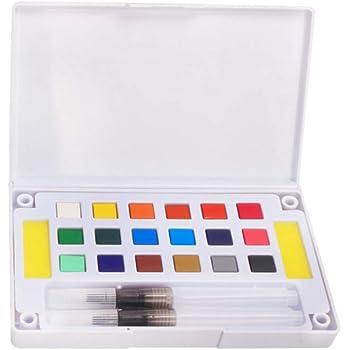 Pigmento sólido, portátil sólido acuarela pigmento Set de pintura – con una paleta separada y dos pincel de pintura de agua – para dibujo artístico – 12/18/24/36 colores Tamaño libre 18 Colors: Amazon.es: Hogar