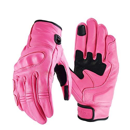 Unisex Moto Guantes de Cuero Guantes de Cuero Guantes de protección para Motocicleta Moto Riding Racing Pink XS