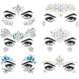 COKOHAPPY 6 Sets Noctilucent Face Jewels Tattoo Rhinestone Mermaid - Body Stickers Glow in the Dark Luminous Face Gems Fluorescent Crystals Sticker Body Jewelry for Halloween