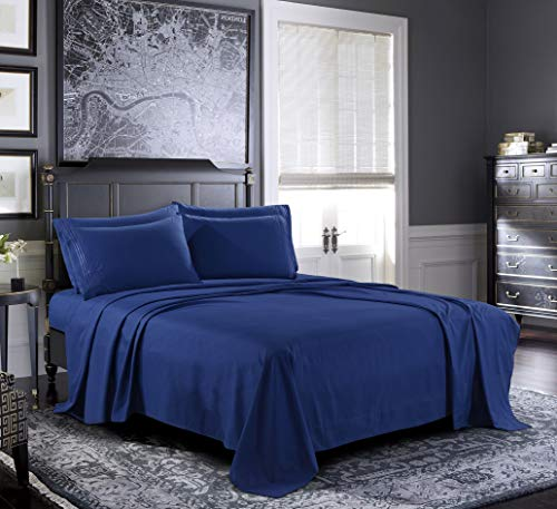 Pure Bedding Bed Sheets - Queen Sheet Set [6-Piece, Navy] - Hotel Luxury 1800 Brushed Microfiber - Soft and Breathable - Deep Pocket Fitted Sheet, Flat Sheet, Pillow Cases