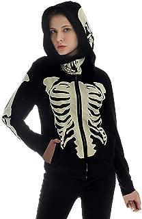 Unisex Hoodie with Skull Mask,Funny Skeleton Hooded Pullover Zip Front Fleece Halloween Costume Sweatshirt by Leegor