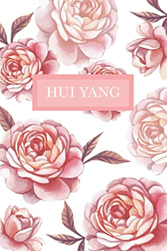 Hui Yang: Personalized Notebook with Flowers and Custom Name – Floral Cover with Pink Peonies. College Ruled (Narrow Lined) Journal for Women and Girls
