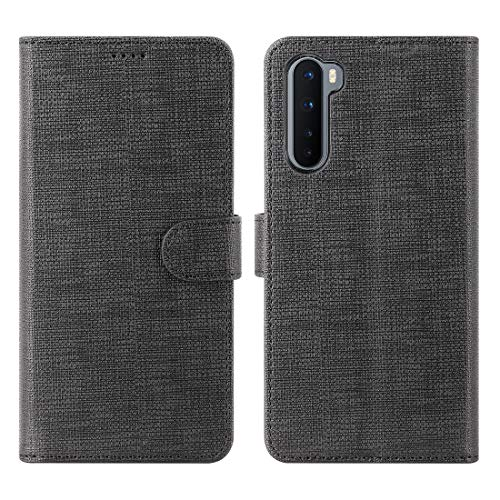 Foluu Oneplus Nord Case, Oneplus Nord 5G Case Canvas Flip/Folio Soft TPU Cover Bumper Kickstand Ultra Slim Strong Magnetic Closure Cover Oneplus Nord 5G 2020 (Black)