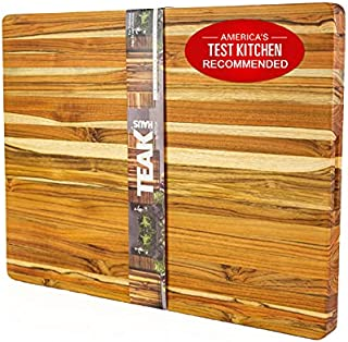 TEAKHAUS Wood Cutting Board Block I Chopping Board I Wooden Cutting Boards for Kitchen I Large Cutting Board with Handle I Chopping Boards for Kitchen I Thick Cutting Board 107 24x18x1.5