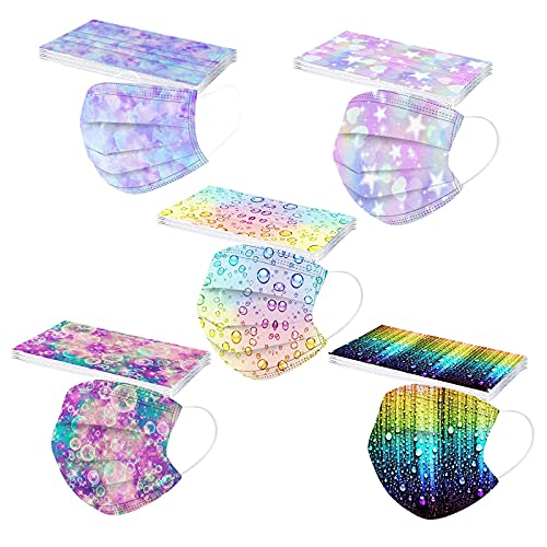50Pcs Kids Disposable Face_Masks with Designs, 3-Ply Colorful Printed Facemasks with Nose Wire for Boys Girls School Outdoor (Multicolor_3)