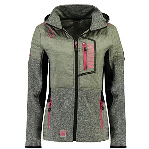 Geographical Norway Damen Sofshell Mid-Fleece-Jacke mit Kapuze, Modell Rihana Lady, erhältlich in 3 Farben (S-XXL) Gr. Medium, grau