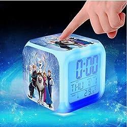 Elsa and Anna Figure LED Alarm Clock Kids Glow Colorful Toys for Girls Wake up Light reveil Table Clock reloj despertador,6