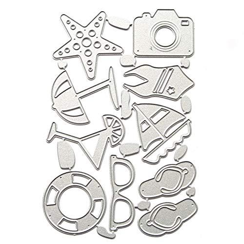 Cluis Beach - Fustelle in metallo a forma di barca a vela, per fai da te, album di ritagli, album di carta, goffratura