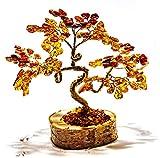 KPJAmber Lucky Tree - Albero decorativo in ambra naturale del Mar Baltico, tipo Bonsai con 135 foglie, altezza 12 cm, fatto a mano